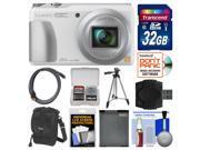 Panasonic Lumix DMC-ZS35 Wi-Fi Digital Camera (White) with 32GB Card + Case + Battery + Tripod + Kit