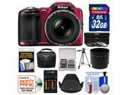 Nikon Coolpix L830 Digital Camera (Red) with 32GB Card + Case + Batteries & Charger + Tripod + 3 Filters Kit