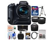 Samsung WB2200F Smart Wi-Fi Digital Camera with 32GB Card + Case + Tripod + 3 UV/ND8/CPL Filters + 2 Tele/Wide Lens Kit