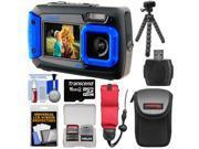 Coleman Duo 2V9WP Dual Screen Shock & Waterproof Digital Camera (Blue) with 16GB Card + Case + Float Strap + Flex Tripod + Kit