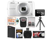 Nikon Coolpix S810c Android Wi-Fi GPS Digital Camera (White) with 16GB Card + Case + Battery + Flex Tripod + Kit