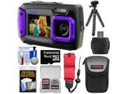 Coleman Duo 2V9WP Dual Screen Shock & Waterproof Digital Camera (Purple) with 16GB Card + Case + Float Strap + Flex Tripod + Kit