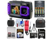 Coleman Duo 2V9WP Dual Screen Shock Waterproof Digital Camera Purple with 32GB Card Batteries Charger Case Float Strap Kit