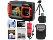 Coleman Duo 2V9WP Dual Screen Shock Waterproof Digital Camera Red with 16GB Card Case Float Strap Flex Tripod Kit