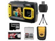 Coleman Duo 2V9WP Dual Screen Shock & Waterproof Digital Camera (Yellow) with 16GB Card + Case + Kit