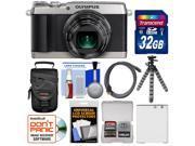 Olympus Stylus SH-1 Wi-Fi Digital Camera (Silver) with 32GB Card + Case + Battery + Flex Tripod + Accessory Kit