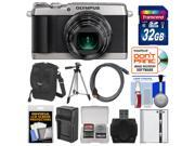 Olympus Stylus SH-1 Wi-Fi Digital Camera (Silver) with 32GB Card + Case + Battery/Charger + Tripod + Kit