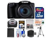 Canon PowerShot SX400 IS Digital Camera (Black) with 32GB Card + Case + Battery + Tripod + Kit