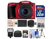 Canon PowerShot SX400 IS Digital Camera (Red) with 32GB Card + Case + Flash + Battery + Tripod + Accessory Kit