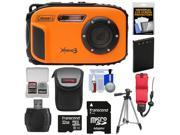 Coleman Xtreme3 C9WP Shock & Waterproof 1080p HD Digital Camera (Orange) with 32GB Card + Battery + Case + Float Strap + Tripod + Kit