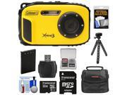 Coleman Xtreme3 C9WP Shock & Waterproof 1080p HD Digital Camera (Yellow) with 32GB Card + Battery + Case + Flex Tripod + Float Strap + Kit