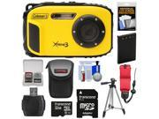 Coleman Xtreme3 C9WP Shock & Waterproof 1080p HD Digital Camera (Yellow) with 32GB Card + Battery + Case + Float Strap + Tripod + Kit