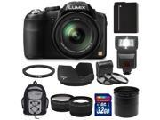 Panasonic Lumix DMC-FZ200 Digital Camera (Black) with 32GB Card + Battery + Backpack + Flash + Lens Set + Hood + 3 Filters Kit