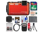 Nikon Coolpix AW120 Shock & Waterproof Wi-Fi GPS Digital Camera (Orange) with 16GB Card + Case + Battery + Flex Tripod + Accessory Kit