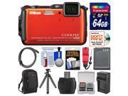 Nikon Coolpix AW120 Shock & Waterproof Wi-Fi GPS Digital Camera (Orange) with 64GB Card + Case + Battery/Charger + Flex Tripod + Float Strap + Kit