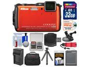 Nikon Coolpix AW120 Shock & Waterproof Wi-Fi GPS Digital Camera (Orange) with 32GB Card + Case + Battery + Tripod + Strap + Suction Cup & Car Dashboard Mount Ki