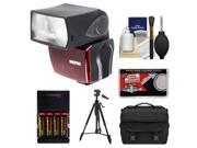 Sunpak PF30X Electronic Flash Unit (for Nikon i-TTL) with (4) AA Batteries & Charger + Tripod + Case + Accessory Kit