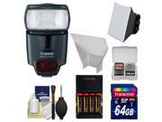 Canon Speedlite 430EX II Flash with 64GB Card + Soft Box Diffuser + Reflector + Batteries & Charger + Accessory Kit