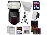 Sony Alpha HVL F60M Flash with Video Light with 64GB Card Batteries Charger Diffuser Bounce Reflector Tripod Kit