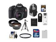 Canon EOS Rebel T3i Digital SLR Camera Body & EF-S 18-55mm IS II Lens with 32GB Card + Tripod + Case + Battery + Remote + Filter + Telephoto/Wide-Angle Lens Kit