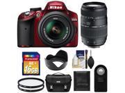 Nikon D3200 Digital SLR Camera & 18-55mm G VR DX AF-S Zoom Lens (Red) with 70-300mm Lens + 16GB Card + Case + Filters + Remote + Accessory Kit