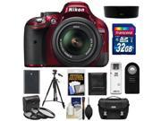 Nikon D5200 Digital SLR Camera & 18-55mm G VR DX AF-S Zoom Lens (Red) with 32GB Card + Battery + Case + 3 UV/CPL/ND8 Filters + Tripod + Accessory Kit