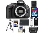 Nikon D5200 Digital SLR Camera Body (Black) with 32GB Card + Battery + Case + Remote + Tripod + Accessory Kit
