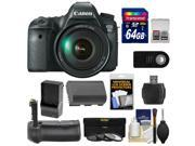 Canon EOS 6D Digital SLR Camera Body with EF 24-105mm L IS USM Lens with 64GB Card + Battery & Charger + Battery Grip + 3 UV/ND8/CPL Filters + Remote