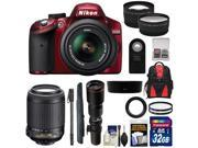 Nikon D3200 Digital SLR Camera & 18-55mm G VR DX AF-S Zoom Lens (Red) with 55-200mm VR & 500mm Tele Lens + 32GB Card + Monopod + Backpack + 2 Lens Kit