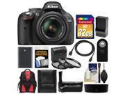 Nikon D5200 Digital SLR Camera & 18-55mm G VR DX AF-S Zoom Lens (Black) with 32GB Card + Backpack + Grip + Battery & Charger + Remote + HDMI Cable + Filters Kit