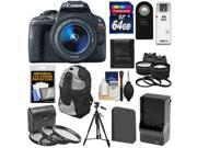 Canon EOS Rebel SL1 Digital SLR Camera EF S 18 55mm IS STM Lens Black with 64GB Card Battery Charger Backpack Tele Wide Lenses Filters Tripod Ki