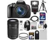 Canon EOS Rebel T5i Digital SLR Camera & EF-S 18-55mm IS STM Lens with EF-S 55-250mm IS STM Lens + 32GB Card + Battery + Backpack + Flash + Tripod + Kit