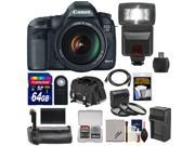Canon EOS 5D Mark III Digital SLR Camera with EF 24-105mm L IS USM Lens with 64GB Card + Battery + Charger + Backpack + Grip + Flash + Accessory Kit