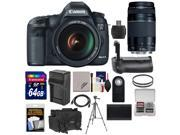 Canon EOS 5D Mark III Digital SLR Camera with EF 24 105mm L IS USM Lens 75 300mm III Lens 64GB Card Grip Battery Charger Case Tripod Kit