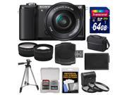 Sony Alpha A5000 Wi-Fi Digital Camera & 16-50mm Lens (Black) with 64GB Card + Case + Battery + Tripod + Tele/Wide Lenses + 3 Filters Kit
