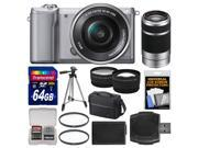 Sony Alpha A5000 Wi-Fi Digital Camera & 16-50mm Lens (Silver) with 55-210mm Lens + 64GB Card + Case + Battery + Tripod + Tele/Wide Lenses Kit