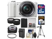 Sony Alpha A5000 Wi-Fi Digital Camera & 16-50mm Lens (White) with 32GB Card + Case + Battery & Charger + Tripod + Tele/Wide Lenses + Filter Kit