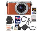Panasonic Lumix DMC-GM1 Micro Four Thirds Digital Camera & 12-32mm Lens (Orange) with 64GB Card + Battery + Case + Filter + Flex Tripod Kit