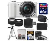 Sony Alpha A5000 Wi-Fi Digital Camera & 16-50mm Lens (White) with 64GB Card + Case + Battery + Tripod + Tele/Wide Lenses + 3 Filters Kit