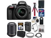Nikon D3300 Digital SLR Camera & 18-55mm G VR DX II AF-S Zoom Lens (Black) with 55-200mm VR Lens + 32GB Card + Shoulder Bag + Battery + Charger + Tripod Kit