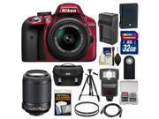 Nikon D3300 Digital SLR Camera 18 55mm G VR DX II AF S Zoom Lens Red with 55 200mm VR II Lens 32GB Card Battery Charger Case Flash Tripod Kit