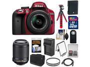 Nikon D3300 Digital SLR Camera & 18-55mm G VR DX II AF-S Zoom Lens (Red) with 55-200mm VR Lens + 32GB Card + Shoulder Bag + Battery + Charger + Tripod Kit