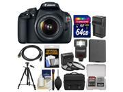 Canon EOS Rebel T5 Digital SLR Camera Body & EF-S 18-55mm IS II Lens with 64GB Card + Case + Flash + Battery/Charger + Tripod + Filter Kit