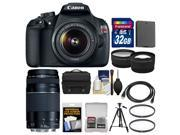 Canon EOS Rebel T5 Digital SLR Camera Body & EF-S 18-55mm IS II Lens with 75-300mm III Lens + 32GB Card + Case + Battery + Tripod + Kit