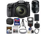 Sony Alpha A77 II Wi-Fi Digital SLR Camera & 16-50mm Lens with 70-300mm Lens + 64GB Card + Battery + Case + Tripod + Flash + Filters + Kit