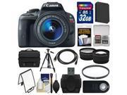 Canon EOS Rebel SL1 Digital SLR Camera & EF-S 18-55mm IS STM Lens (Black) with 32GB Card + Case + Battery + Tripod + Tele/Wide Lens Kit