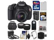 Canon EOS Rebel T3i Digital SLR Camera Body & EF-S 18-55mm IS II Lens with 32GB Card + Case + Battery/Charger + Tele/Wide Lenses + 3 Filters Kit