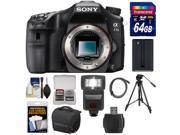 Sony Alpha A77 II Wi-Fi Digital SLR Camera Body with 64GB Card + Battery + Case + Tripod + Flash + Kit