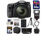 Sony Alpha A77 II Wi-Fi Digital SLR Camera & 16-50mm Lens with 64GB Card + Battery + Case + Tripod + Flash + 3 Filters + Kit