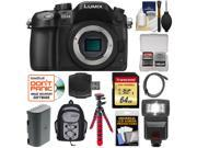 Panasonic Lumix DMC-GH4 4K Micro Four Thirds Digital Camera Body with 64GB Card + Battery + Backpack Case + Tripod + Flash + Accessory Kit